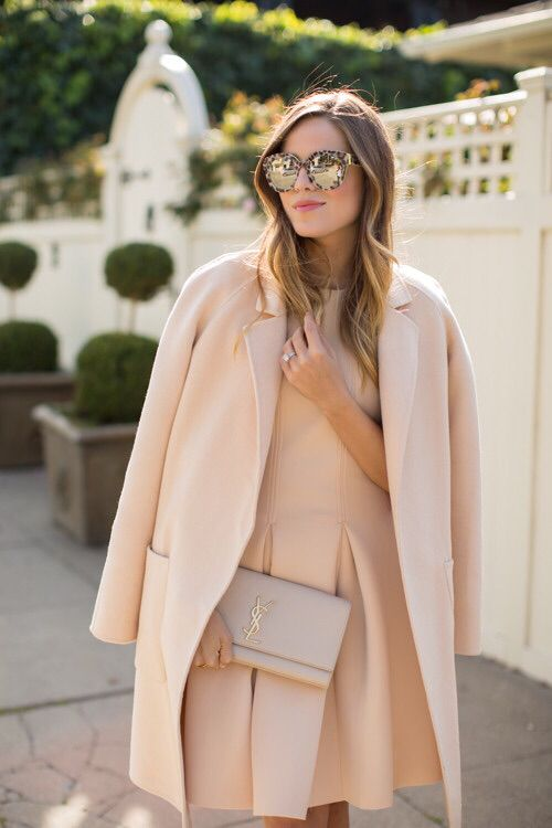 Muted pink dress and coat