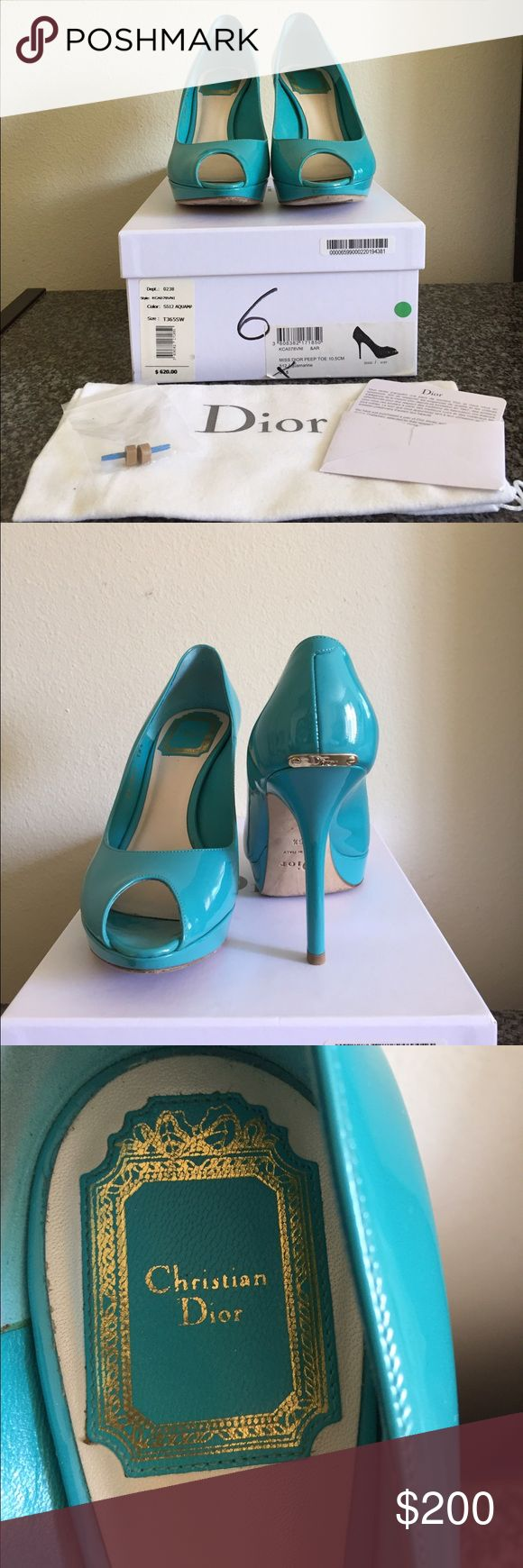 Christian Dior 'Miss Dior' Peep toe platform pump Patent leather peep toe pump in Aquamarine. Comes with box, dust bag, and extra heel taps. Christian Dior Shoes Heels
