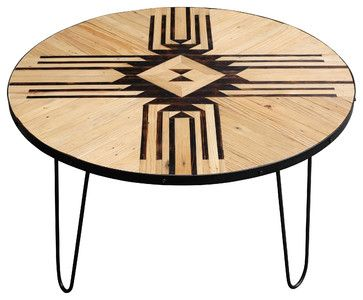 Reclaimed Wooden Round Coffee Table With Hairpin Legs southwestern-coffee-tables