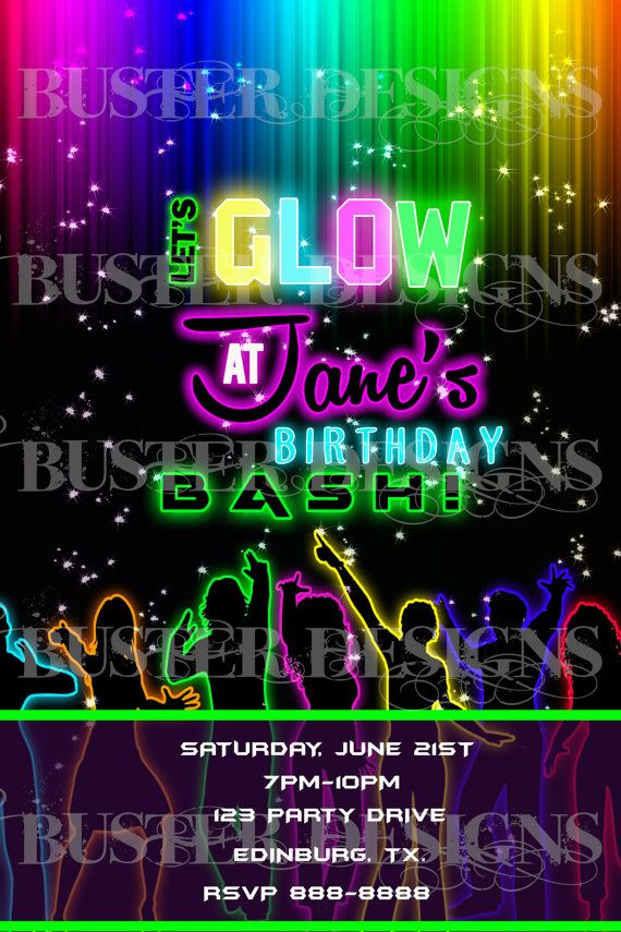 birthday girl neon glow party invitation