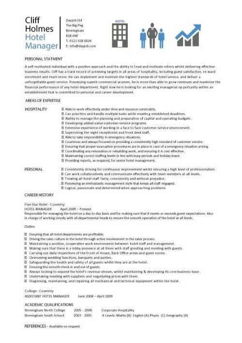 Cv Template Young Person Cvtemplate Person Template Young Resume Examples Hotel Management Manager Resume