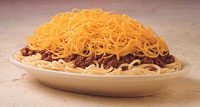 Cincinnati-style chili is known all across the country. Cincinnatians consume more than two millions pounds of it each year topped with 850,000 pounds of shredded cheddar cheese.