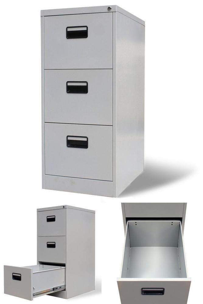 Metal Office Filing Cabinet Chest Of 3 Drawers Hanging Files Paper