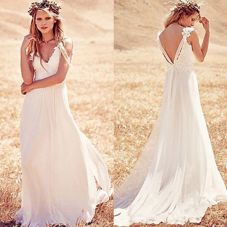 Find a Cheap Ivory Lace Chiffon Spaghetti Straps Beach Wedding Dress V Neck Backless Boho Wedding Dresses Cheap Wedding Gowns Online Shop For U !