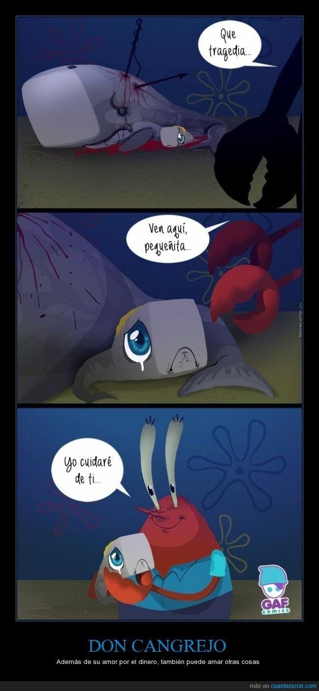 ?? por que don cangrejo tiene una ballena como hija ¿¿