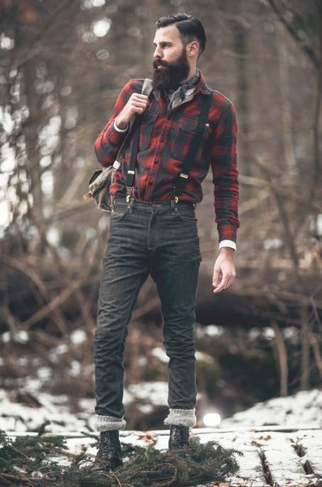 Suspenders, flannel, cuffed skinnies, and combat boots. Excellent.
