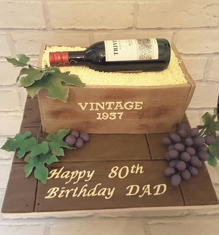 80th Birthday Cake - wine bottle, crate and grapes