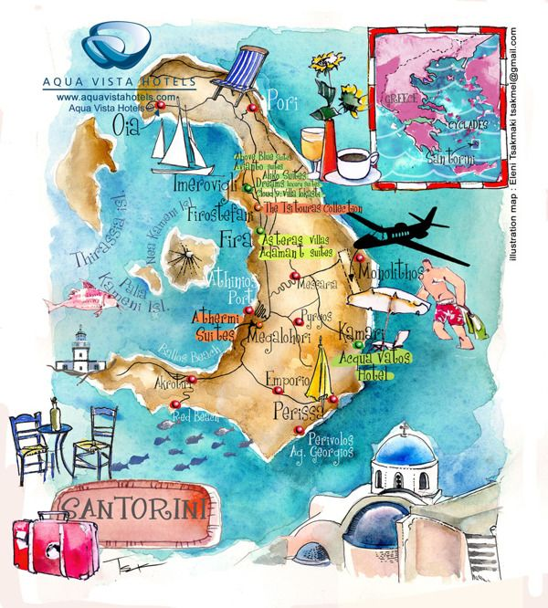 Santorini isl art map in Aegean sea by ELENI TSAKMAKI, via Behance