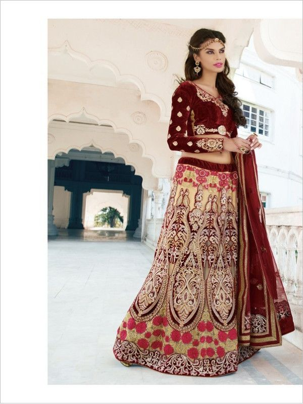 Cream Wedding Net Women Lehenga