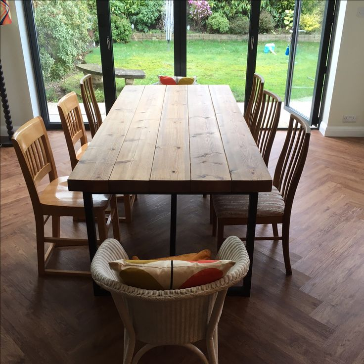 Industrial Style Reclaimed Wood Dining Table Stained in Medium Oak -  www.reclaimedbespoke.co