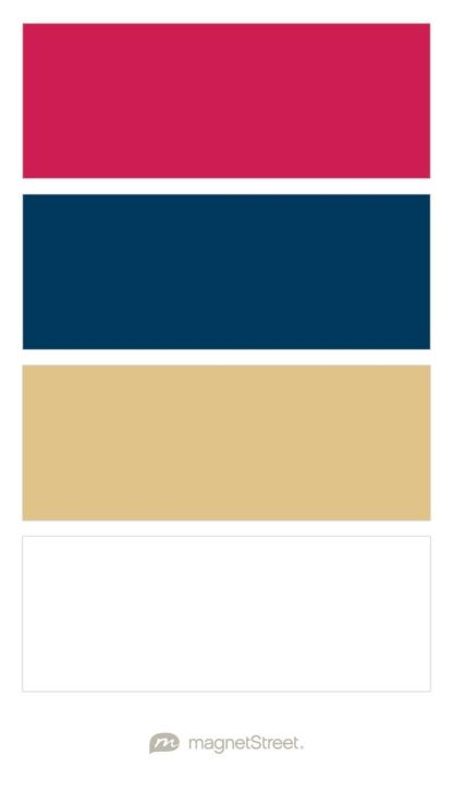 Raspberry, Navy, Gold, and White Wedding Color Palette - custom color palette created at MagnetStreet.com