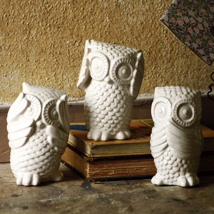 Stop monkeying around with this set of adorable owl figurines. These owls will happily adorn your mantle, table, or bookshelf as a playful take on the usual monkeys who see no evil, hear no evil, and speak no evil.