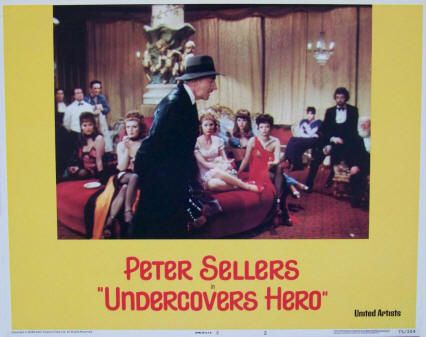 """Undercovers Hero Lobby Card #2, 1975, United Artists, VF-, size 11 x 14 inches, stars Peter Sellers, Lila Kedrova, Curt Jurgens, and Beatrice Romand. Directed by Roy Boulting. Originally released in the UK in 1974 as """"Soft Beds, Hard Battles."""" $7.50"""