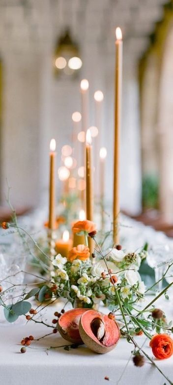 Fall Wedding Tablescape In Carmel Tones