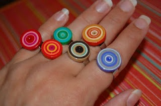 fun! I really need to check out this Diamond Glaze I keep reading about: Paper Quilled, Quilled Jewelry, Funky Paper, Paper Jewelry, Paper Quilling, Jewelry Ideas, Quilling Ring