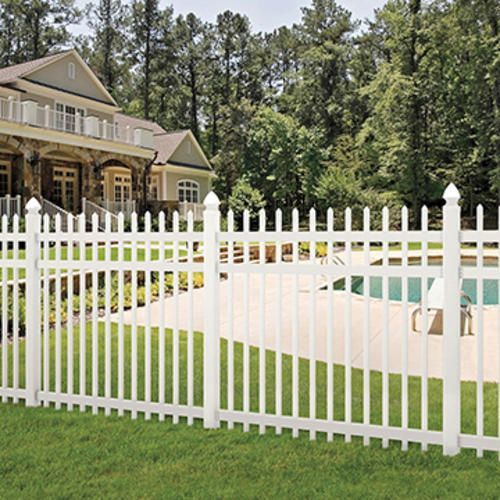 6x6 white vinyl picketlock pool fence spaced picket fence