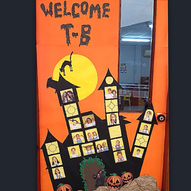 Halloween Decorations Classroom Door ~ Halloween haunted house classroom door inside