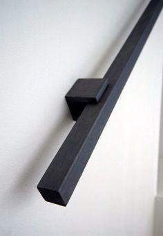 Stalen trapleuning, vierkant design en mat zwart gepoedercoat
