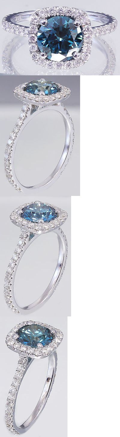 Gemstone 177020: 14K White Gold Round Cut Blue Sapphire And Diamonds Engagement Ring Halo 2.10Ctw -> BUY IT NOW ONLY: $1999 on eBay!