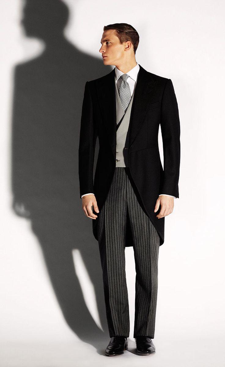 Protocolo masculino de invitado a boda con chaqué Morning Coat, Morning Suits, Morning Dress, Victorian Fashion, Gothic Fashion, Mens Fashion, Fashion Suits, Groom Style, Dress For Success