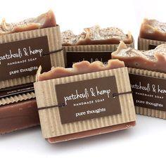 Patchouli & Hemp Natural Soap #packaging #kraft #tag