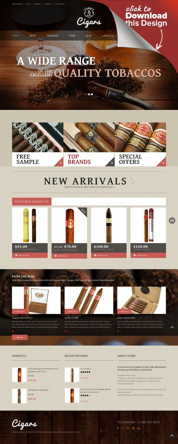 Tobacco Shop WooCommerce Theme E-commerce Templates, WooCommerce Themes, Business & Services, Tobacco Templates