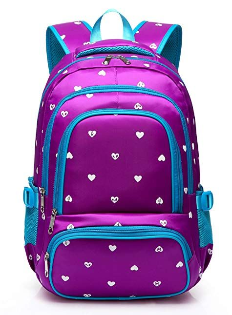3925e449e Hearts Print School Backpacks For Girls Kids Elementary School Bags ...
