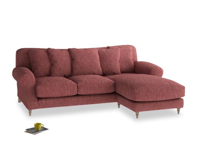 Super squishy sofa in dark red for cosy times in front of for Innendekoration chalet