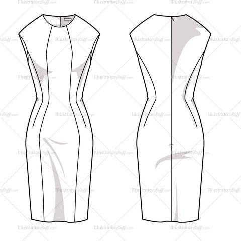 Women's Sheath Dress Fashion Flat Template