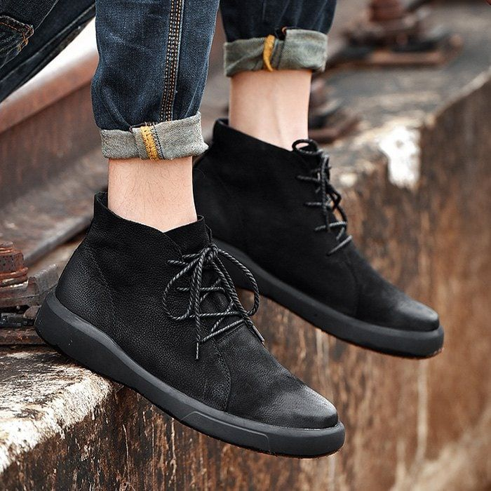 Men Comfortable Boots Stylish High Top Lace Up Warm Shoes Ad Ad Boots Stylish Men Comfortable High