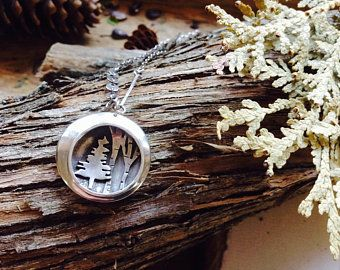 Evergreen and Birch Necklace RESERVED for Wendy