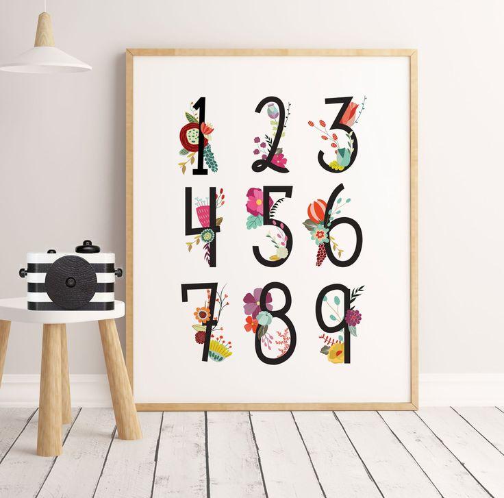 50% OFF SALE nursery print girls, Numbers flowers girl prints, watercolor girls prints, educational art, girls nursery, little flowers girls by ArtPrintsFactory on Etsy