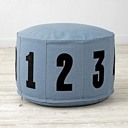 Adorned With Big, Bold Numerals, Our Canvas Blue Block Numbers Pouf Is A  Comfy Seat And A Math Lesson In One.