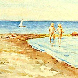 #VintageBeginsHere at www.rubylane.com---Original Signed Watercolor on Paper of Her Two Sons on the Beach in Denmark by Grand Duchess Olga Alexandrovna
