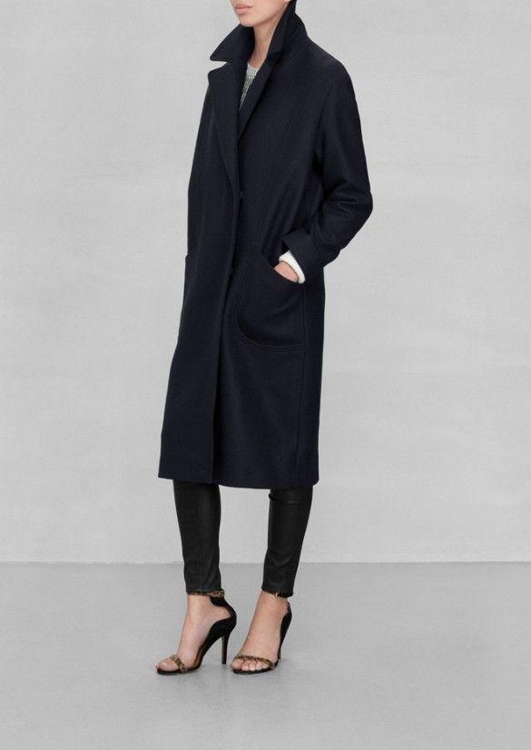 & Other Stories Masculine Wool Coat in Dark Blue