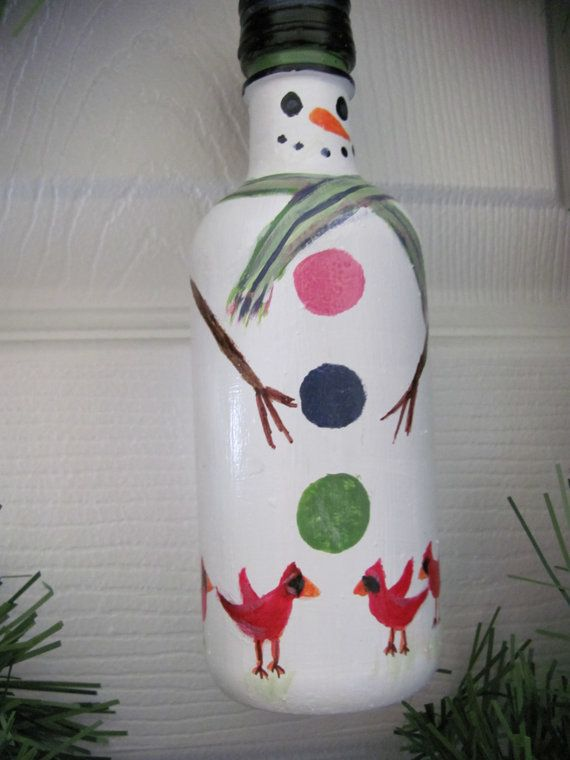 Painted Christmas Wine Bottle