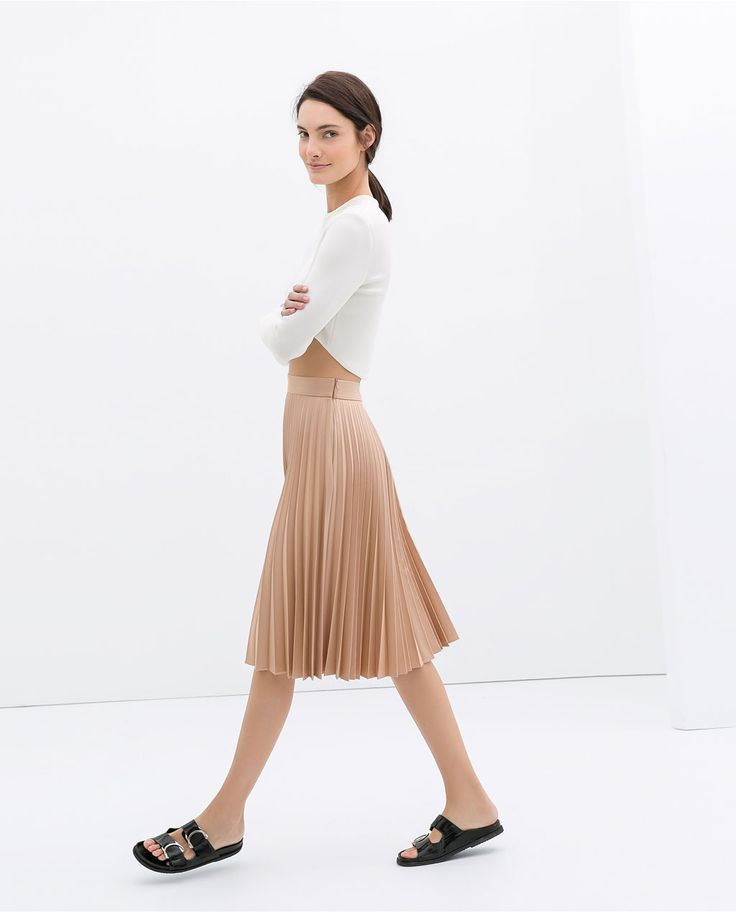 zara coated pleated skirt zara s s 2014