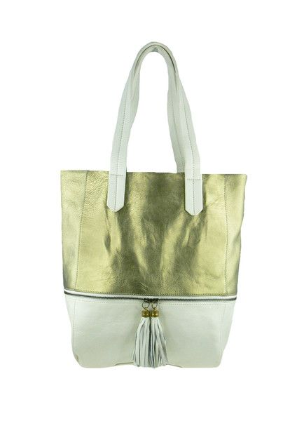 Tassel Leather Tote - Gold / Ivory $279.95 #leethal #accessories #fashion