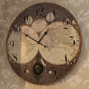 Wooden Wall Atlas World Map Globe Pendulum Clock Vintage Kitchen Office  Bedroom