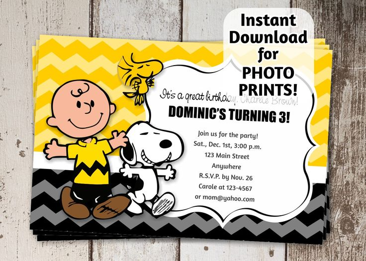 Charlie Brown & Snoopy Party Invitation - Instant digital file download - Can use to order photo prints! (printable on card stock, too!) by InstantInvitation on Etsy https://www.etsy.com/listing/226633810/charlie-brown-snoopy-party-invitation