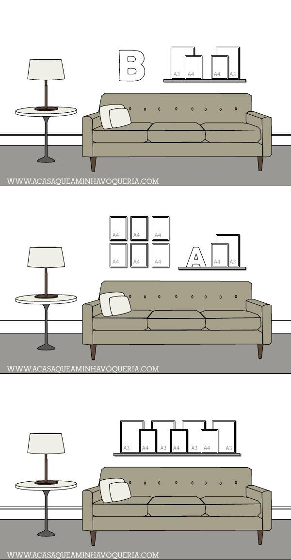 16 formas de harmonizar quadros na parede utilizando apenas molduras A3 e A4