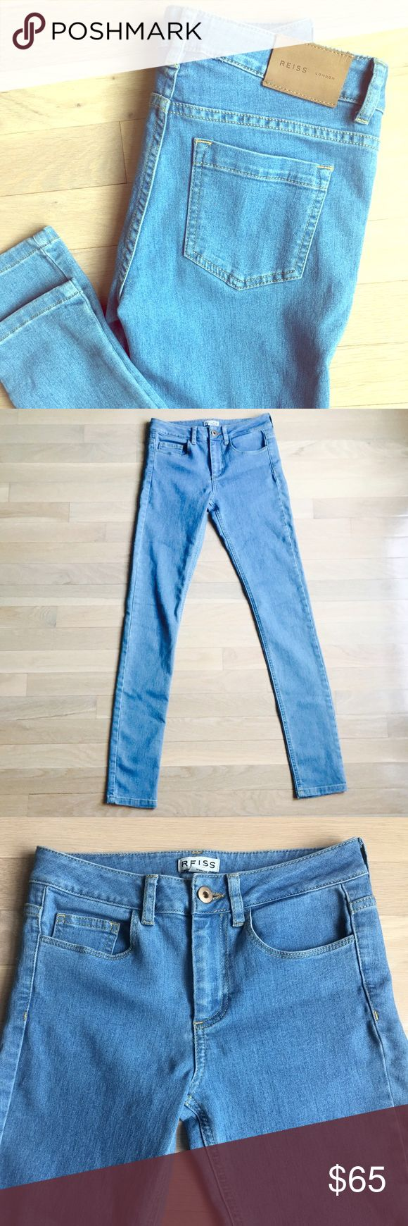Reiss London light blue skinny jeans Mid rise light blue jeans, never worn, Reiss smith skinny, fits like a 24 or 25 Reiss Jeans Skinny