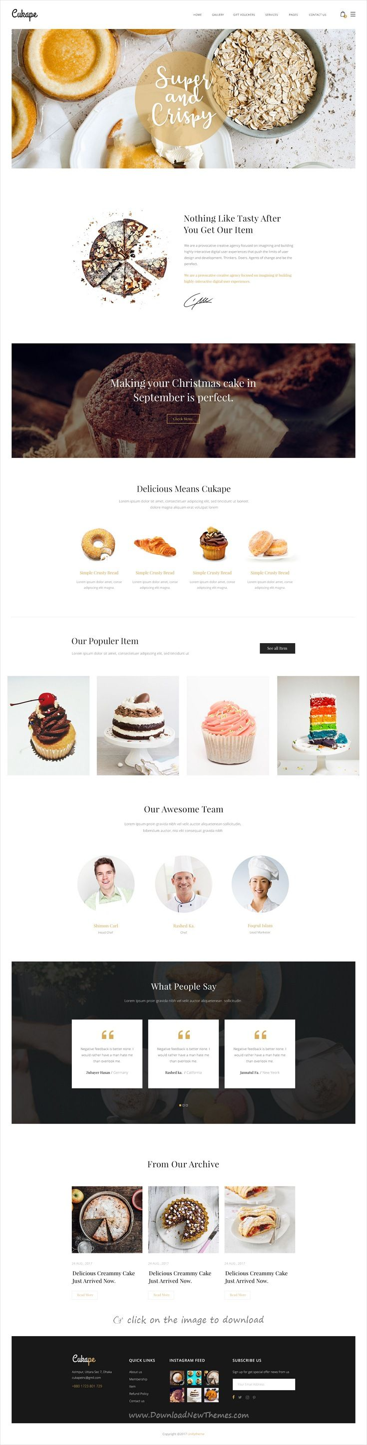 Cukape is clean and modern design PSD template for #cake shop, #bakeries and pastry shop #eCommerce website with 18+ layered PSD pages to download click on image.