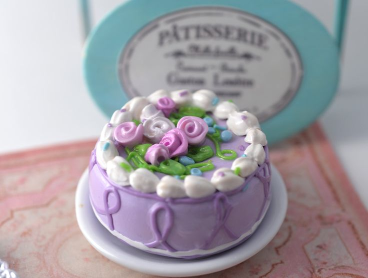 Doll Food French Celebration Individual Cake Lavender Pattisserie Thomas Madame Alexander AG Ready to Ship on Etsy by MiniareMiniatures on Etsy https://www.etsy.com/listing/226558023/doll-food-french-celebration-individual