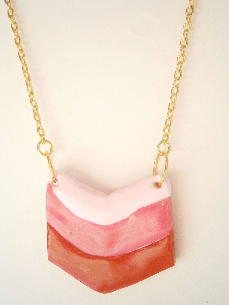 Chevron Necklace - Pink and Red Ombre Jewelry - Polymer Clay Jewellery - Minimalist Necklace - Geometric Necklaces - Triple Chevron Necklace by DazzlePinkJewelry on Etsy