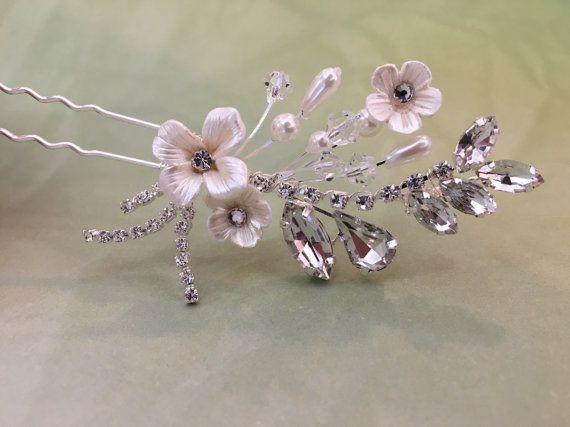 Perno de pelo Swarovski Rhinestones marfil flor de la