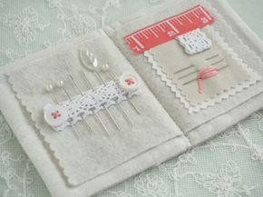 Linen, Pearl & Coral Needlebook - Pretty by Hand