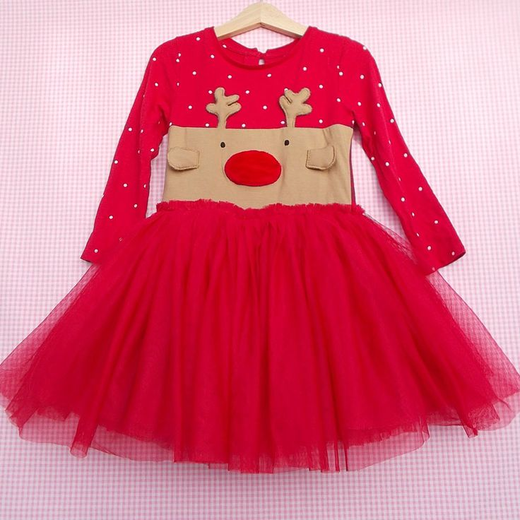 Details About Girls Next Red Christmas Party Dress Age 3 4