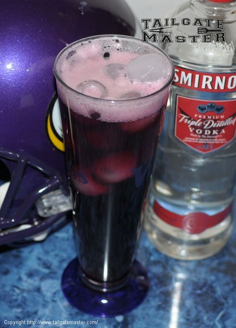I could drink these ALL DAY... see what I did there? People from Minnesota will totally get that one. Purple Jesus 2 parts Grape Juice 2 parts Ginger Ale 1 part Vodka For best results use 1.5 shots of Vodka & a 50/50 mix of Grape Juice/Ginger Ale Pour over ice. Cheer against the pack. If you are making this for a group, use a 1/3 mix of all three in a large container (like a punch bowl) with ice. OPTIONAL: Lemon Slices NOTE: This drink and/or photo is NOT endorsed by t...