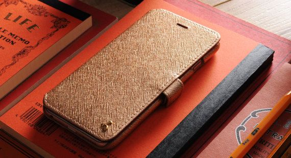 Rose Gold Saffiano Cross Pattern Genuine by storyleather2015